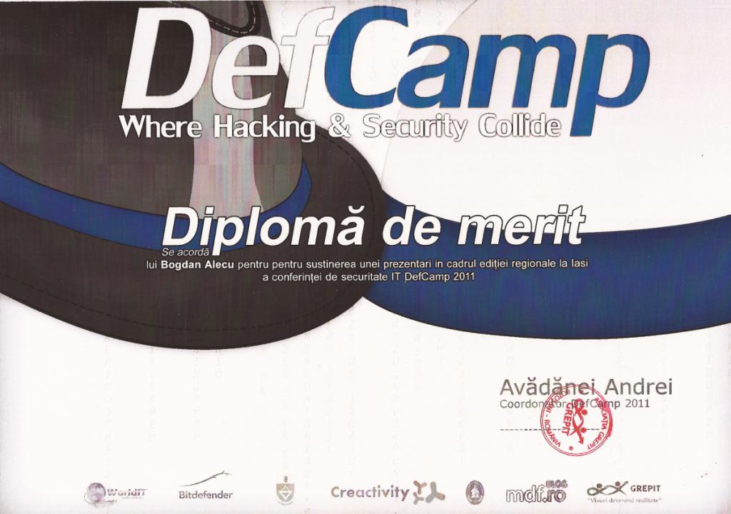 Diploma DefCamp Iasi